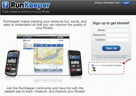 RunKeeperサイトにFacebookのソーシャルグラフデータあり