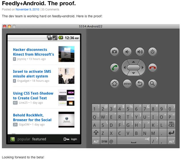 Feedly for Androidが2.2以上からの対応でとても残念