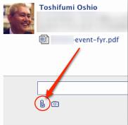 Facebookメッセージでファイル添付ができる