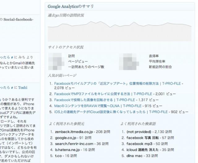 Google Analyticator Admin WIdget