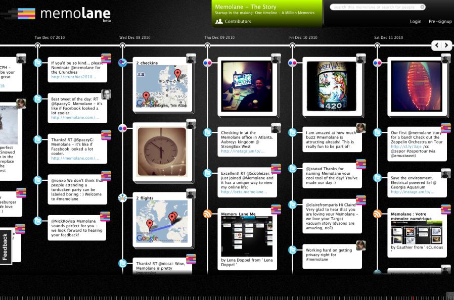 「Memolane」自分の投稿を時系列で統合・表示するサービス