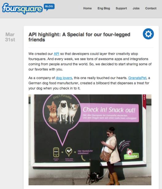 チェックインするとサンプルがその場でもらえる〜Foursquare
